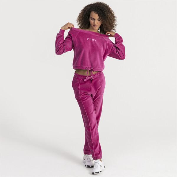 Velvet Off-Shoulder Damen Sweatshirt, Magenta Haze, large