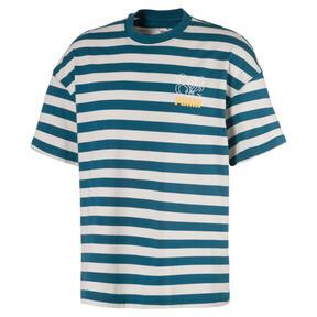 Thumbnail 1 of Breton Stripes Boxy Men's Tee, Blue Coral-Dove, medium