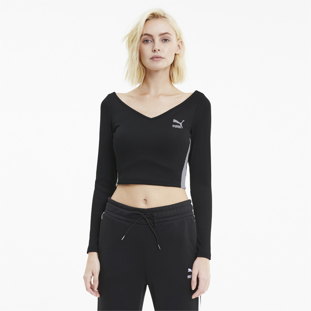 Image Puma Classics Ribbed Cropped Women's Top #1