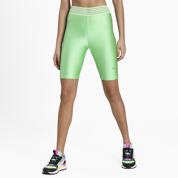 Slip into high performance style in our Evide Shorts, featuring a futuristic glossy finish and iridescent foil graphics for a next-level look. | PUMA Evide Women\\'s Biker Shorts in Summer Green, Size S