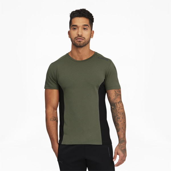 puma porsche design men's rct t-shirt in thyme green, size s