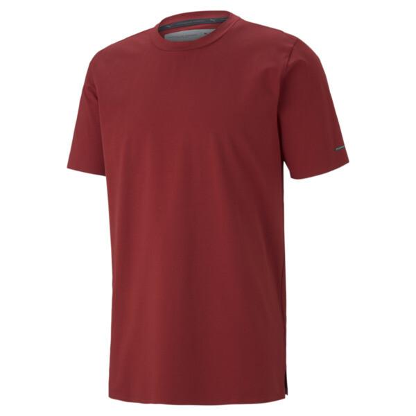 puma porsche design men's essential t-shirt in red dahlia, size m