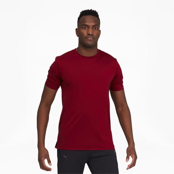 puma porsche design men's essential t-shirt in red dahlia, size s