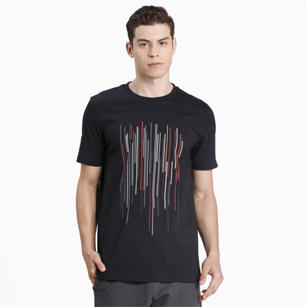 puma porsche design men's graphic t-shirt in jet black, size l