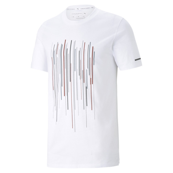 puma porsche design men's graphic t-shirt in white, size m