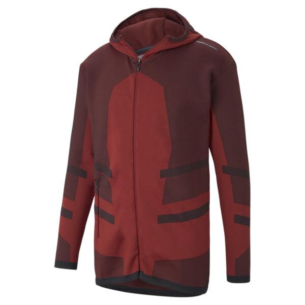 puma porsche design evoknit active men's midlayer jacket in red dahlia, size l