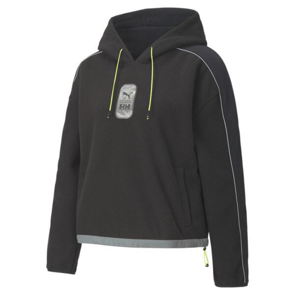puma x helly hansen women's polar fleece hoodie in black, size m