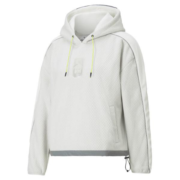 puma x helly hansen women's polar fleece hoodie in glacier grey, size xs