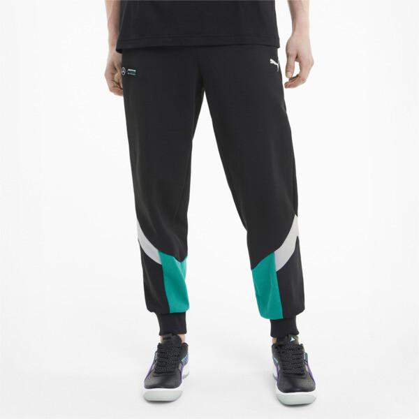 puma mercedes-amg petronas mcs men's sweatpants in black, size s
