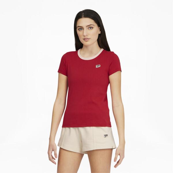 Puma Downtown Women's Small Logo T-Shirt In American Beauty, Size Xs