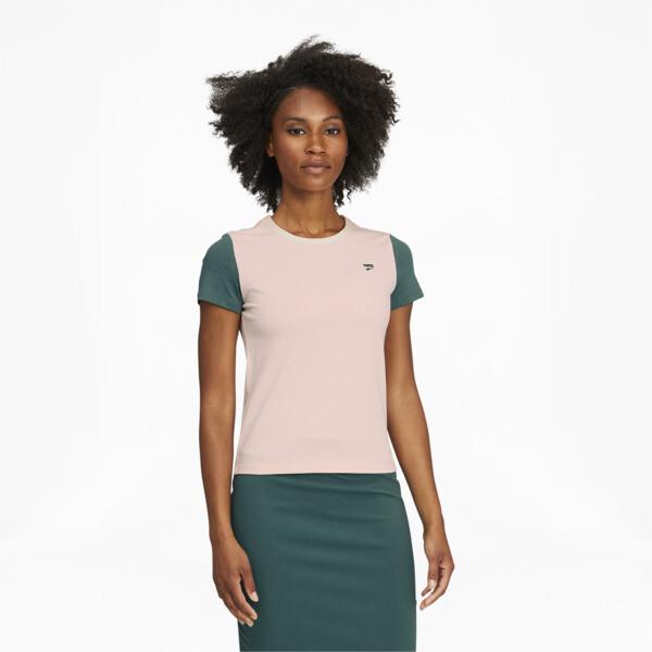 Puma Downtown Women's Small Logo T-Shirt In Cloud Pink, Size Xs