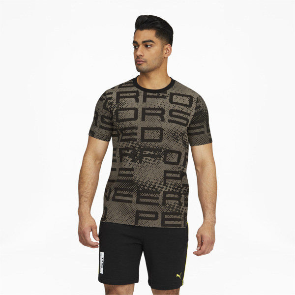 puma porsche design men's graphic t-shirt in jet black, size s