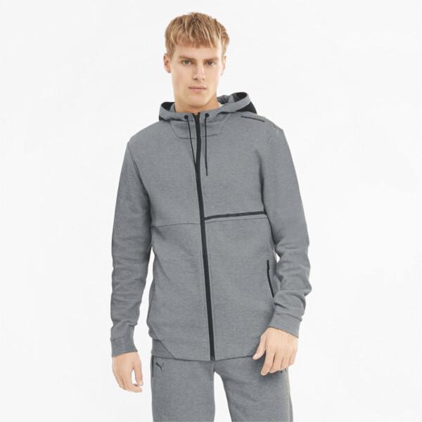 puma porsche design men's hooded jacket in medium grey heather, size s