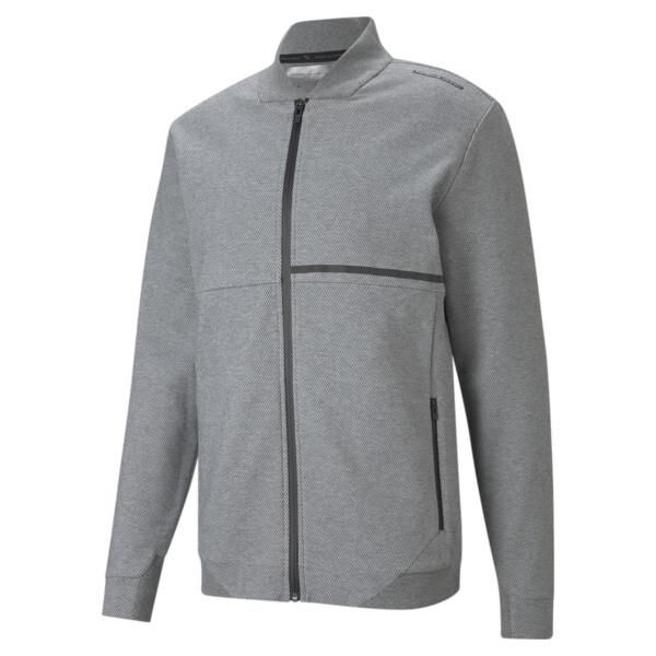 puma porsche design men's sweat jacket in medium grey heather, size s