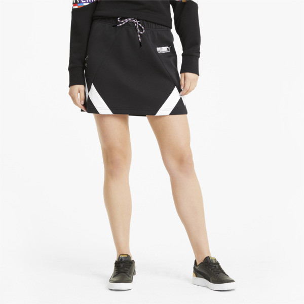 puma intl game women's double knit skirt in black, size xs