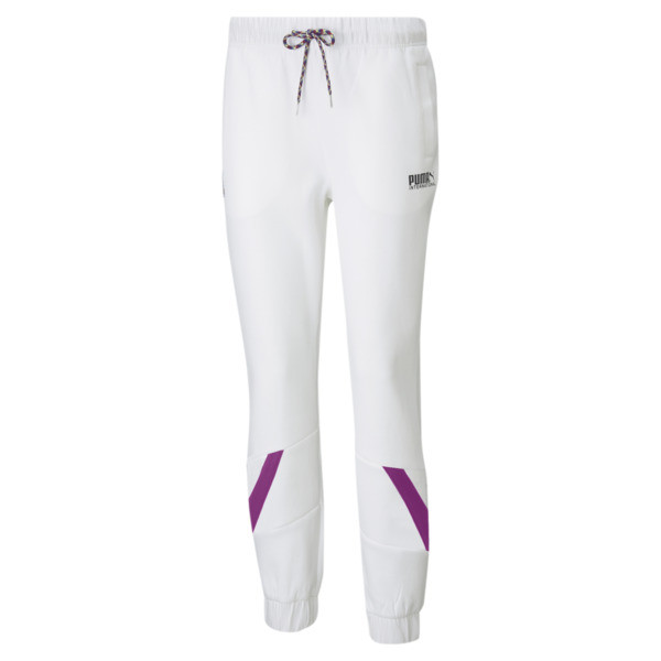 puma intl game women's double knit track pants in white, size xs
