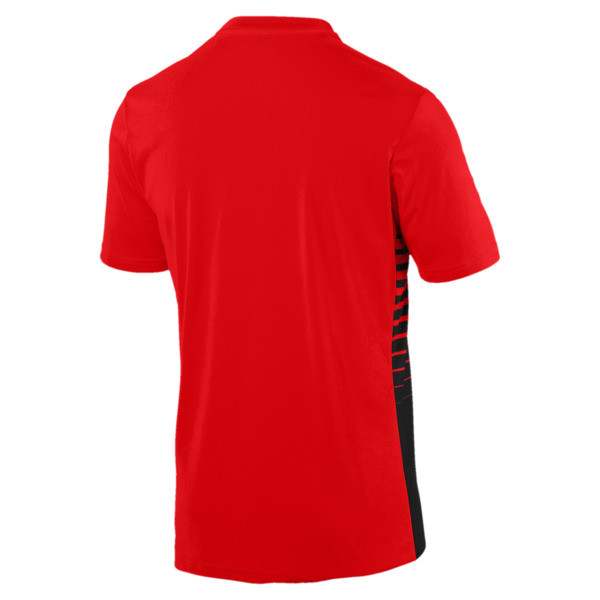 ftblPLAY Men's Graphic Shirt, Red Blast-Puma Black, large