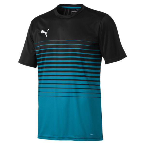 ftblPLAY Men's Graphic Shirt, Puma Black-Caribbean Sea, large