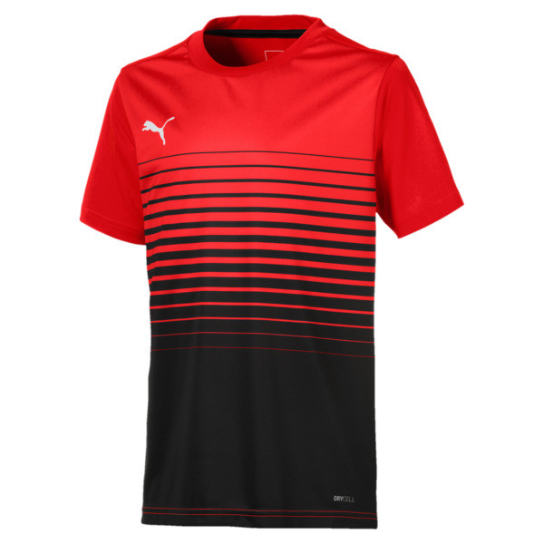ftblPLAY Graphic Boys' Shirt, Red Blast-Puma Black, large