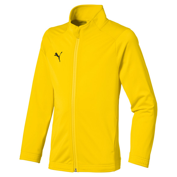 Football Kids' LIGA Sideline Core Jacket, Cyber Yellow-Puma Black, large