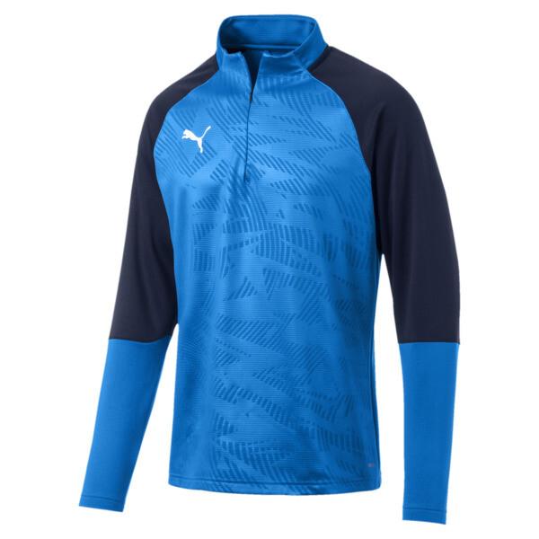 CUP Training Core 1/4 Zip Men's Football Top, Electr Blue Lemonade-Peacoat, large