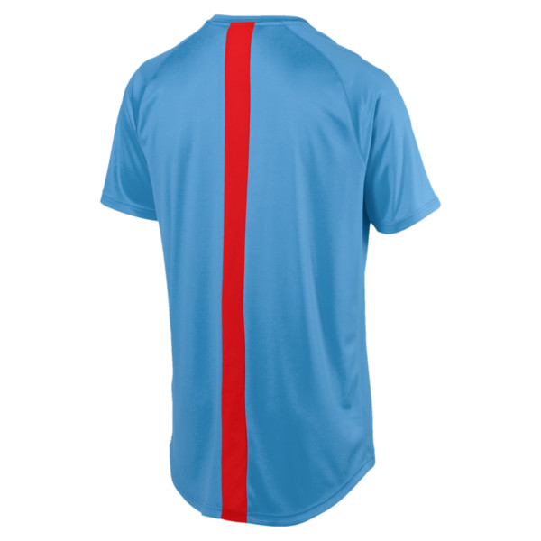 ftblNXT Men's Football Tee, Bleu Azur-Red Blast, large