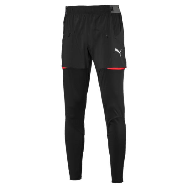 ftblNXT Men's Pro Training Pants, Puma Black-Red Blast, large