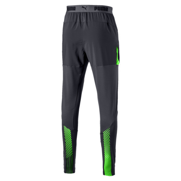 ftblNXT Men's Pro Training Pants, Ebony-Green Gecko, large
