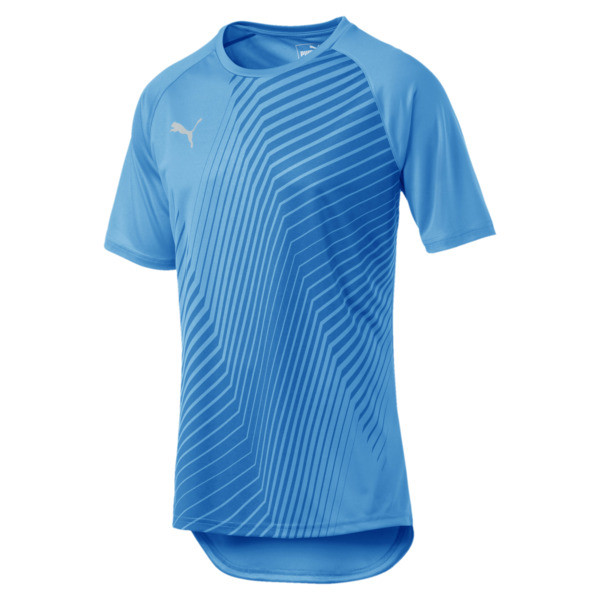 ftblNXT Core Graphic Herren Fußball T-Shirt, Bleu Azur-Red Blast, large