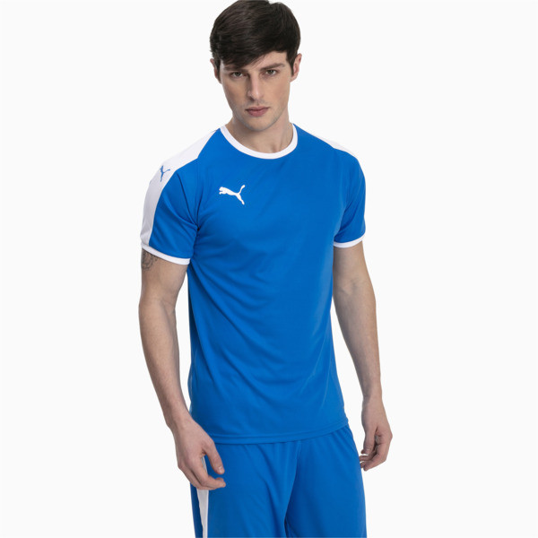 Liga Men's Football Jersey, Electric Blue Lemonade-White, large