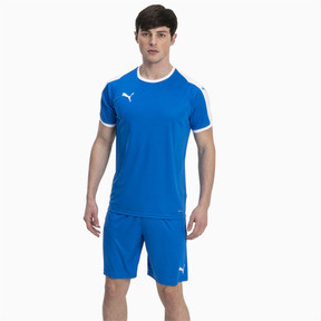 Thumbnail 3 of Liga Men's Football Jersey, Electric Blue Lemonade-White, medium