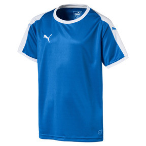 Thumbnail 1 of Liga Junior Football Jersey, Electric Blue Lemonade-White, medium