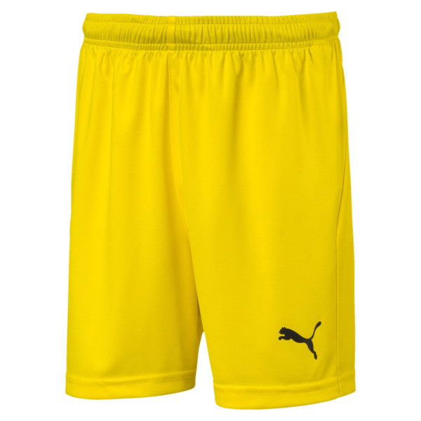Liga Core Junior Football Shorts, Cyber Yellow-Puma Black, large