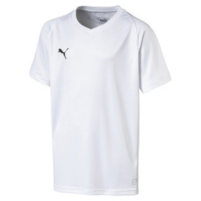 Thumbnail 1 of Liga Core Junior Football Jersey, Puma White-Puma Black, medium