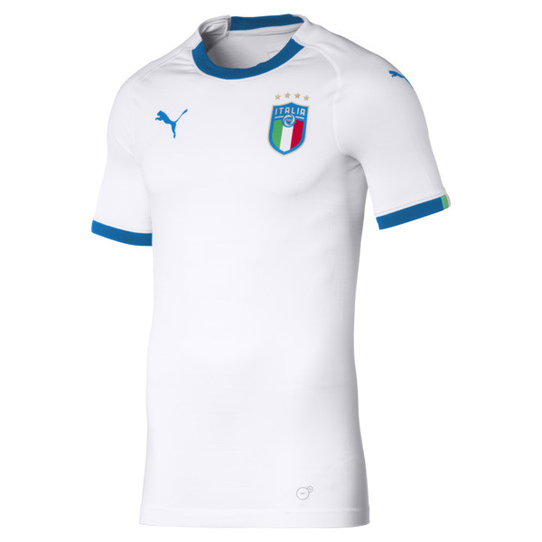 Italia Men's Away Promo Football Jersey, Puma White-Team Power Blue, large