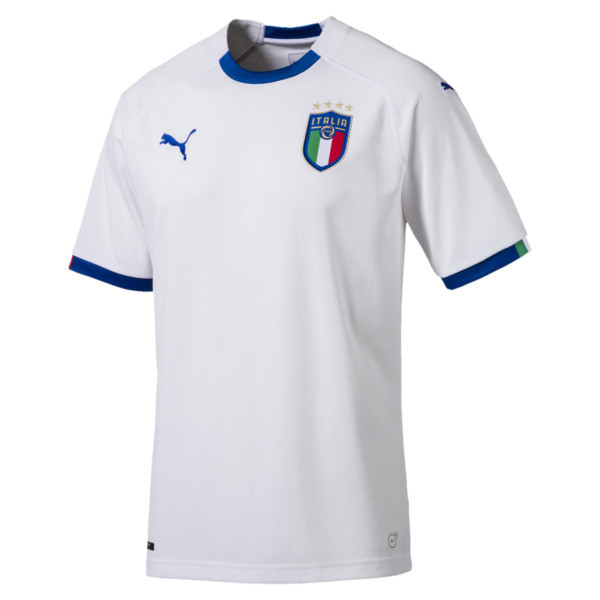 FIGC Away Men's Short Sleeve Replica Shirt, Puma White-Team Power Blue, large
