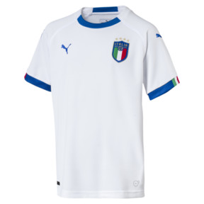 Thumbnail 1 of FIGC Italia Kids Away Shirt, Puma White-Team Power Blue, medium