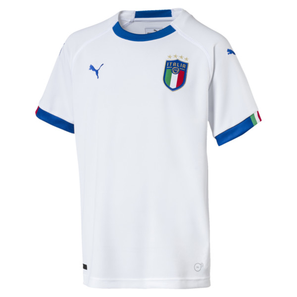 FIGC Italia Kids Away Shirt Replica SS, Puma White-Team Power Blue, large