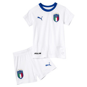Thumbnail 1 of Italia Away Kids' Minikit, Puma White-Team Power Blue, medium
