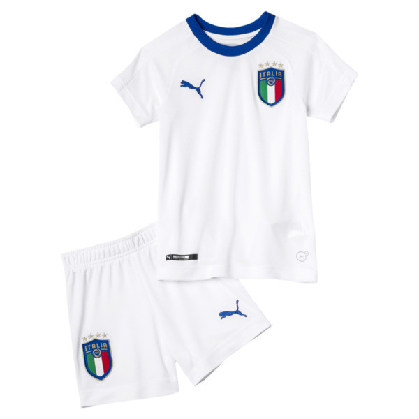 Italia Away Kids' Minikit, Puma White-Team Power Blue, large