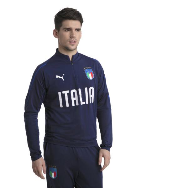 Italia 1/4 Zip Training Top, Peacoat-Team Power Blue, large