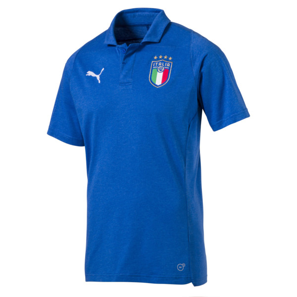 FIGC Casual Polo SS, Team Power Blue Heather, large