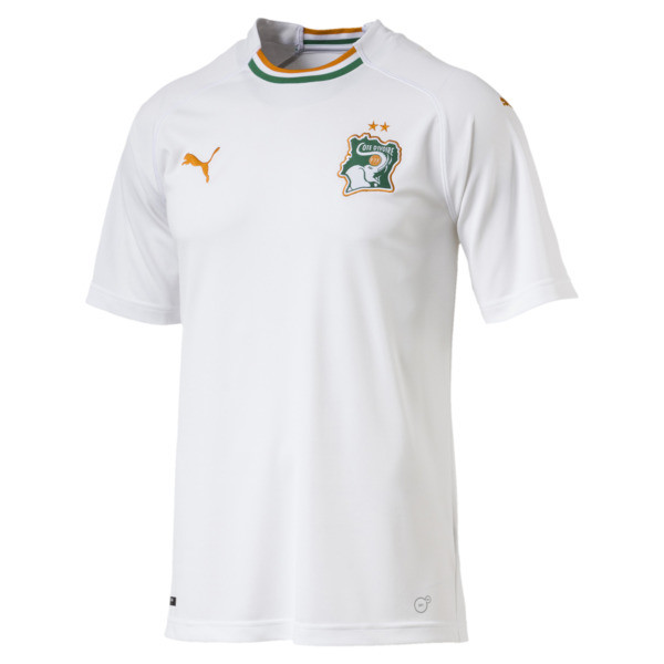 Ivory Coast Men's Away Replica Jersey, Puma White-Flame Orange, large