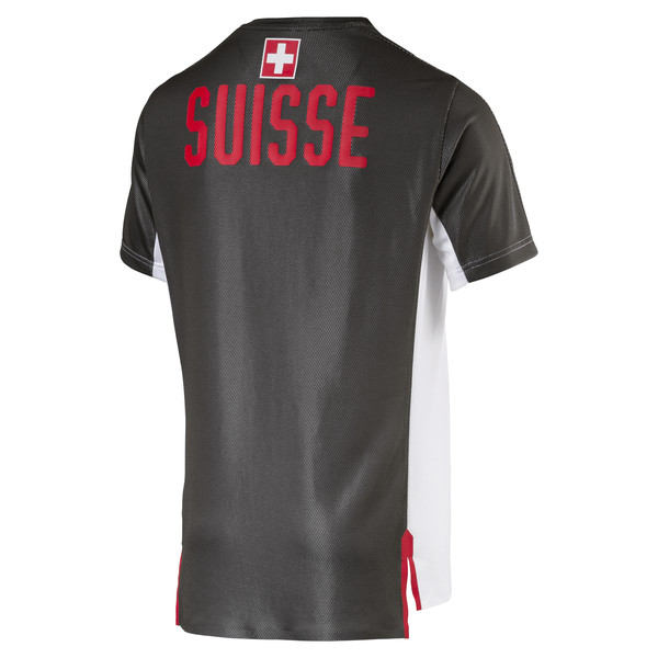SUISSE Men's Stadium Jersey, Puma White-Asphalt, large