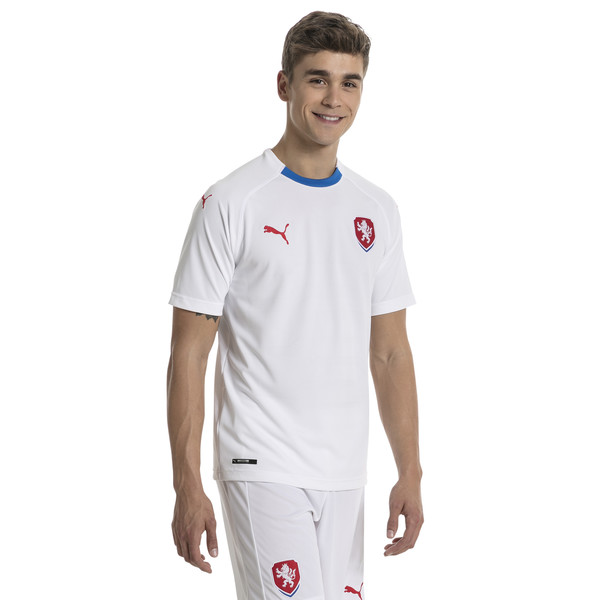 Czech Republic Men's Away Replica Jersey, Puma White-Puma Royal, large