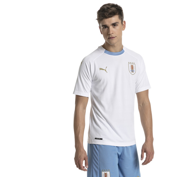 Uruguay Men's Away Replica Jersey, Puma White-Silver Lake Blue, large