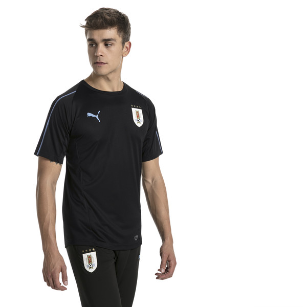 Uruguay Men's Training Jersey, Puma Black-Silver Lake Blue, large