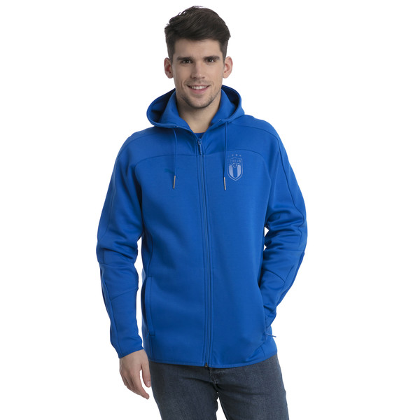 FIGC Men's Zip-Thru Hoodie, Team Power Blue, large