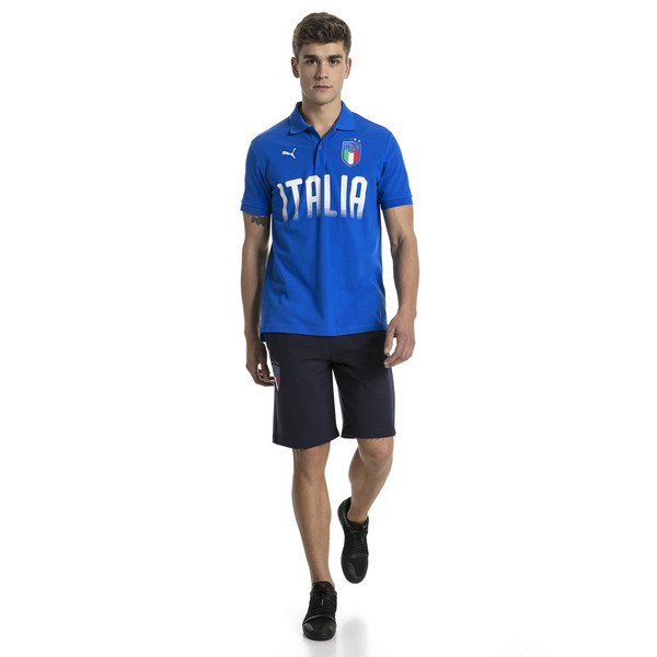 FIGC Men's Italia Fanwear Polo, Team Power Blue, large
