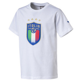 Thumbnail 3 of Italia Badge Tee Jr, Puma White, medium